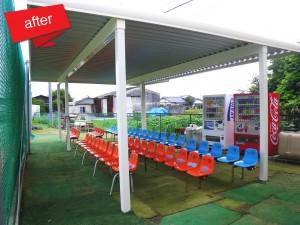 観客席屋根設置工事 完成(雨天でも観戦できるようにと要望があり、観客席全体を覆えるように施しました。)
