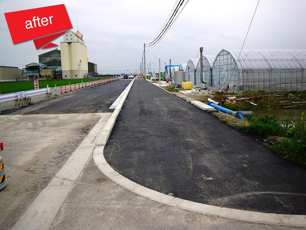 大牟田川副線道路交付金工事 完成(大牟田川副線の道路を拡張する工事です。)