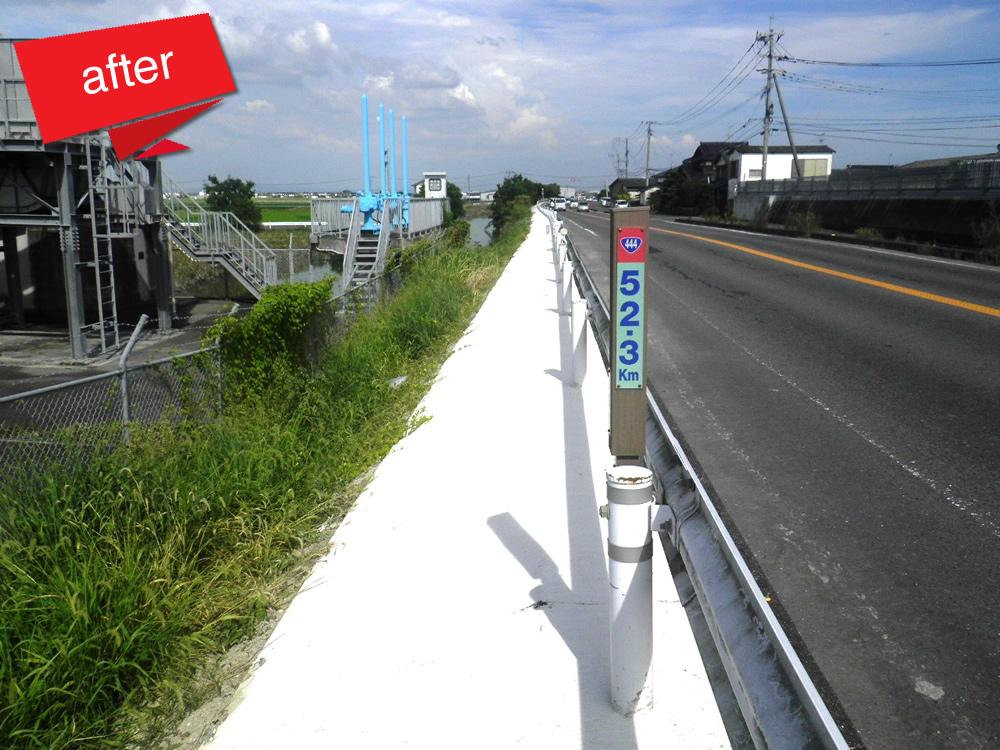 国道444号他道路橋りょう保全工事 着工前(国道444号線道路路肩の防草対策として張コンクリートを施しました。)