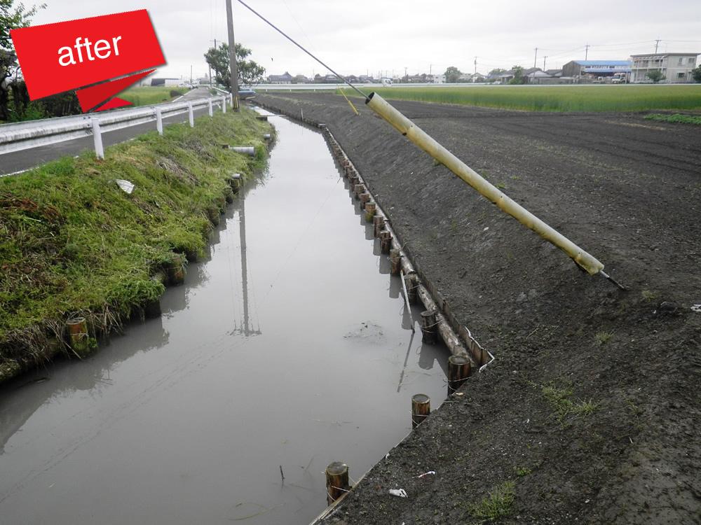 川副中部地区水路浚渫2号工事 完成(水路の浚渫及び木柵工事を行いました。)