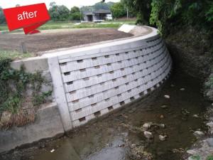 西郷川河川等災害復旧工事 完成(水害にて既設石積が崩壊した箇所を災害復旧しました。)