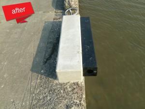 漁港桟橋防舷材修繕 完成(船舶が接岸する際、接触を緩衝する為の防舷材等が破損していた箇所を修繕しました。)