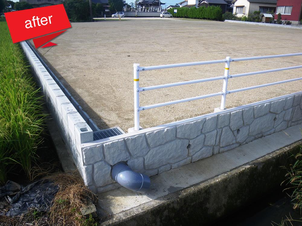 造成工事 駐車場 完成(駐車場を目的として造成しました。この後、駐車スペースの区画割を行いました。)
