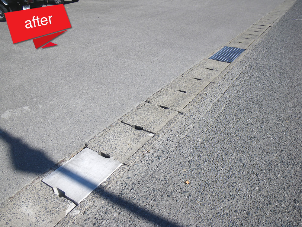 側溝蓋修繕 完成(側溝蓋の破損及びグレーチング蓋の劣化。転落・脱輪事故の前に新しいのに取替えました。)
